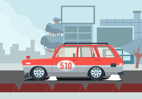 Retro Car in the City Vector Illustration