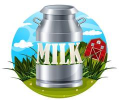 Rótulo de comida de leite com texto