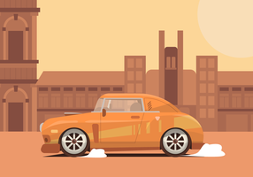 Vintage iconische auto in de stad Vector illustratie