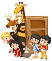 Children and wild animals behind the door vector