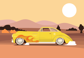 Vintage Fired Muscle Care on the Road Vector Illustration