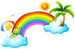 Um arco-íris no céu