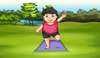 Uma garota gorda exercitando