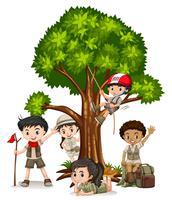 Meninos meninas, escalando, árvore