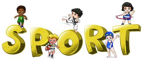 Font design för ord sport med människor som gör sport