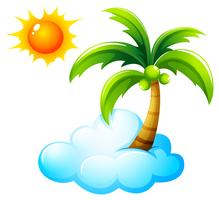 Una playa con un sol radiante.