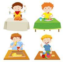 Meninos, comer, em, jantando tabela