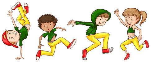 A sketch of the dancers with green and yellow outfits