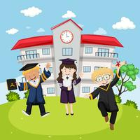 Three kids in graduation gown at school