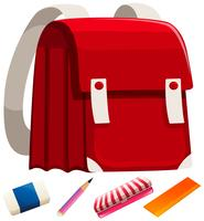 Schoolbag and other stationaries vector