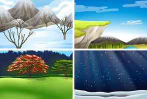 Set of nature landscape scene vector