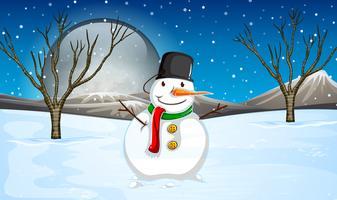 Snowman on the ground at night