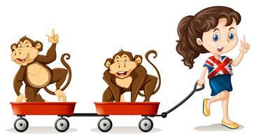 Ragazza che tira le scimmie sui carrelli