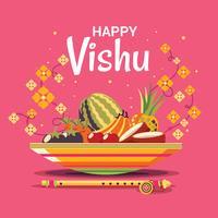 Frutas y verduras en olla para festival de vishukkani
