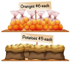 Bags of potatoes and oranges