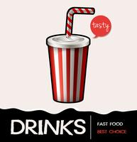 Soft drink in cup on poster