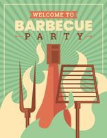 Retro BBQ affisch