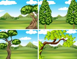 Scene with green grass and mountains vector