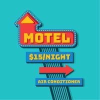 Vector retro de la muestra del motel