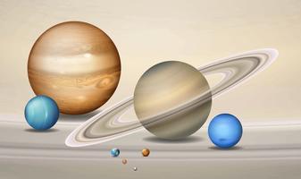 Cena tridimensional do conceito dos planetas