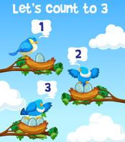 Lets count to three bird concept vector