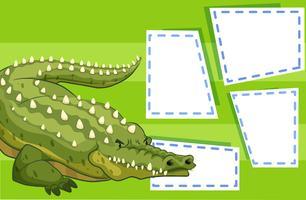 A crocodile on blank note