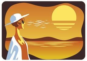 Frau, die Sommer-Sonnenuntergang-Vektor genießt