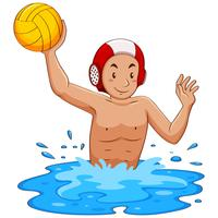 Man playing water polo in the pool