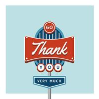 Thank  You Greeting Retro Sign