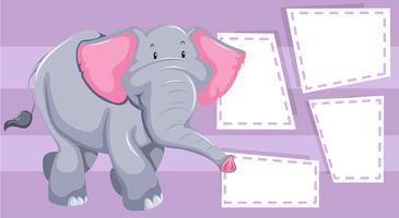 An elephant on blank note