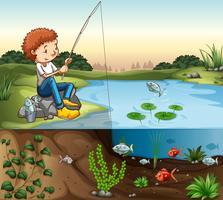 Junge am Fluss angeln