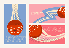 Retro Classic Cricket Ball Banner Vector