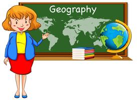 Geography teacher and world map on the board