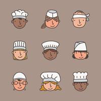Visages de Chef Doodled
