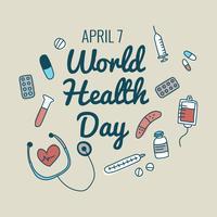 Doodle di materiale medico per la giornata della salute
