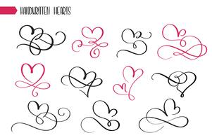 Set of hand drawn sketchy calligraphy hearts