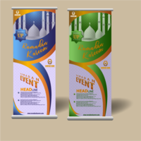ramadan roll up banner template vector