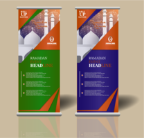 ramadan roll up banner template design vector