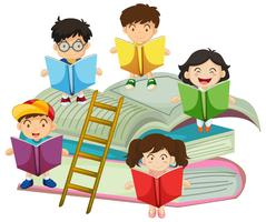 Many children reading books