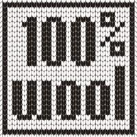 Knitted Text. 100 percent wool. In black and white colors. Vector illustration.