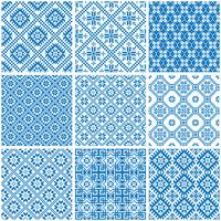 blue and white ornamental ethnic seamless patterns vector