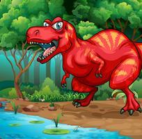 T-Rex che cammina nella giungla