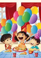 Barn har fest hemma