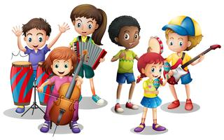 Niños en banda tocando diferentes instrumentos.