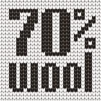 Knitted Text. 70 percent wool. In black and white colors. Vector illustration.