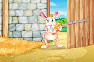 A bunny holding a carrot inside the barn