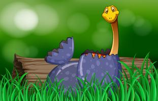 Dinosaur kläckning ägg i parken