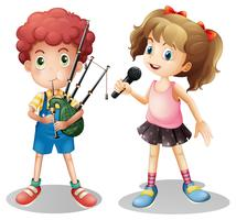 Boy playing bagpipe and girl singing