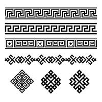 A set of black and white geometric designs. Signs and borders. Vector illustration