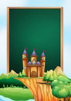 Marco de diseño con torres de castillo en el fondo.